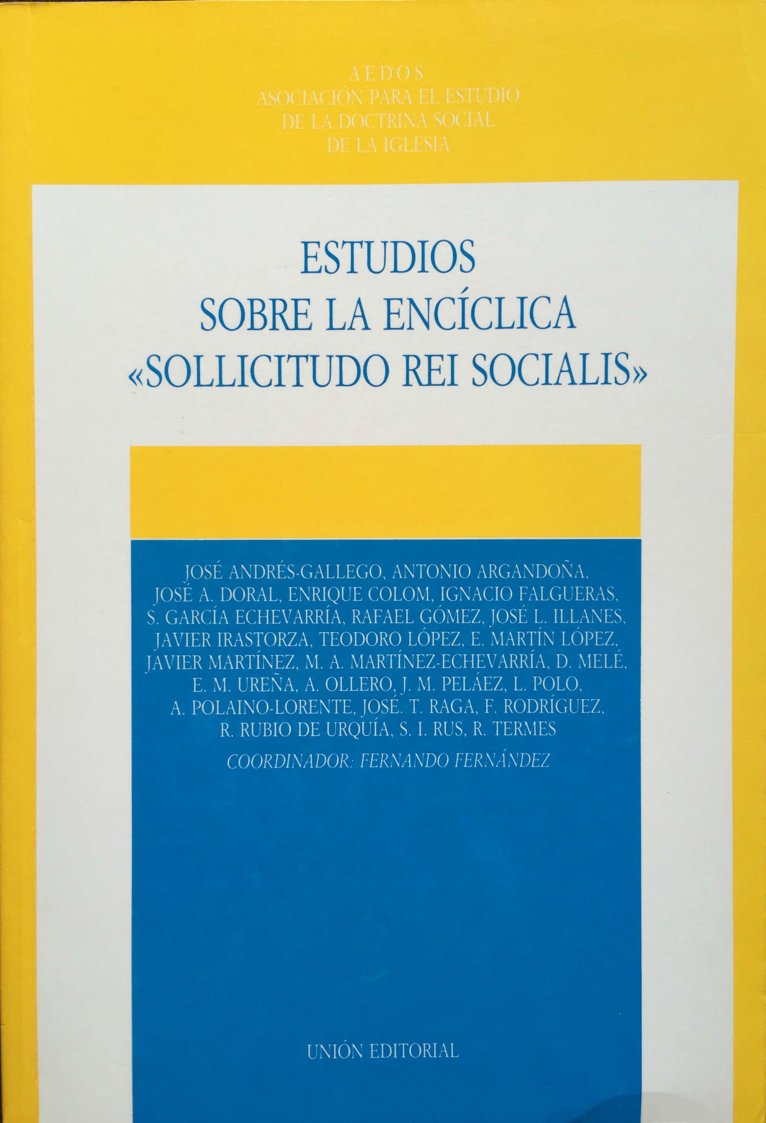 Estudios sobre la enciclica sollicitudo rei socialis